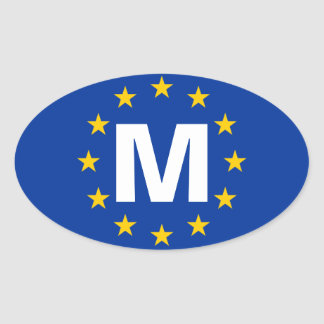 "FOUR Malta ""M"" European Union Flag Oval Sticker"