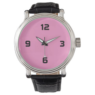 Four Numbers - Black on Pink Wrist Watches