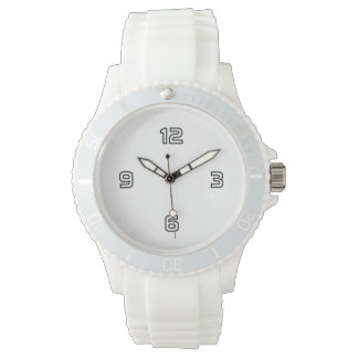 Four Numbers (outline) - White on Deep Purple Wrist Watch