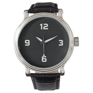 Four Numbers - White on Black Wrist Watches