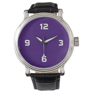 Four Numbers - White on Deep Purple Wrist Watches