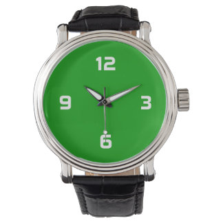 Four Numbers - White on Grass Green Wrist Watch