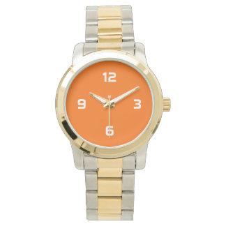 Four Numbers - White on Orange Wrist Watch