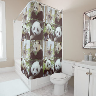 four panda images collage shower curtain