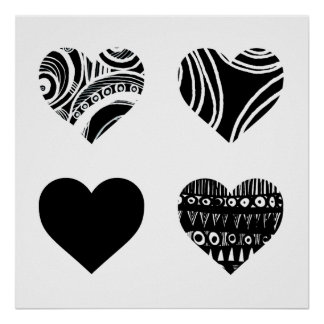 Four Patterned Hearts Print