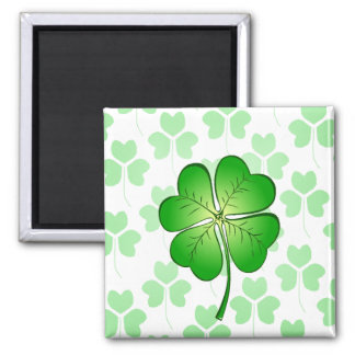Four petal Clover for Luck Square Magnet