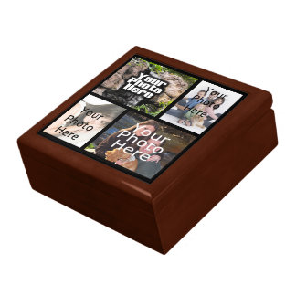 Four Photo Collage Keepsake Wood Jewelry/Valet Box