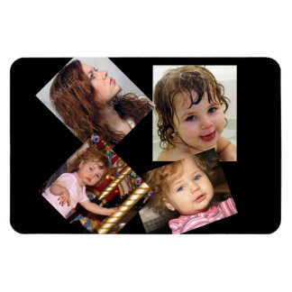 Four Photo Collage Template Rectangular Magnets