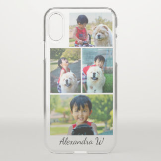 Four Photo Collage  with Custom Personalized Name iPhone X Case