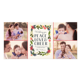 Four Photo Festive Frame Holiday Photo Card