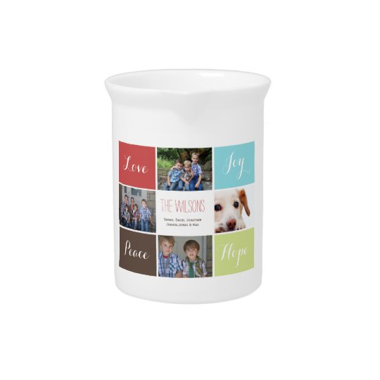 four photos collage custom pitcher