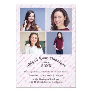 Four Photos Collage Pink Arrows -Grad Announcement