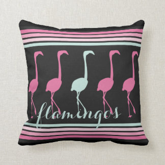 Four Pink Flamingos One Light Blue Cushion