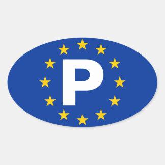"FOUR Portugal ""P"" European Union Oval Sticker"