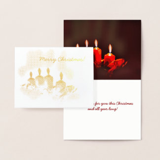 Four Pretty Gold Candles Merry Christmas Foil Card