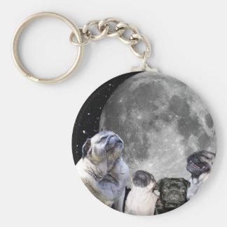 Four Pug Moon Basic Round Button Key Ring