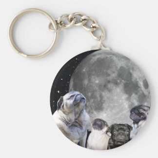 Four Pug Moon Key Ring