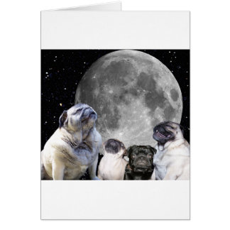 Four Pug Moon Pug Card