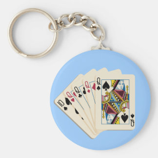 Four Queens - Poker Hand - Play To Win Charms Basic Round Button Key Ring
