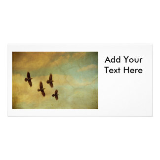 Four Ravens Flying Personalized Photo Card