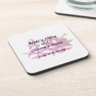 Four Red and White Petunias Wedding Supplies Coaster