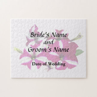 Four Red and White Petunias Wedding Supplies Jigsaw Puzzle