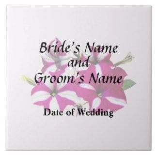 Four Red and White Petunias Wedding Supplies Tile