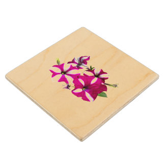 Four Red and White Petunias Wood Coaster