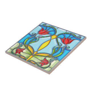 Four Red Tulips Stained Glass Small Square Tile