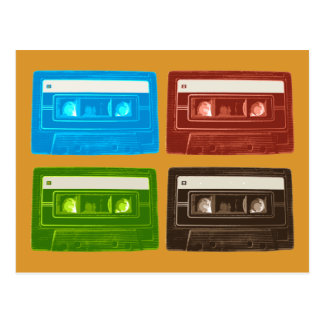 Four Retro Cassette Tapes Postcard
