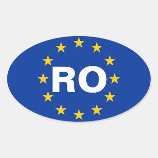 """FOUR Romania """"RO"""" European Flag Oval Sticker"""