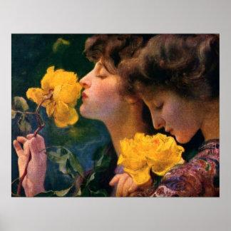 Four Roses by Franz Dvorak Poster