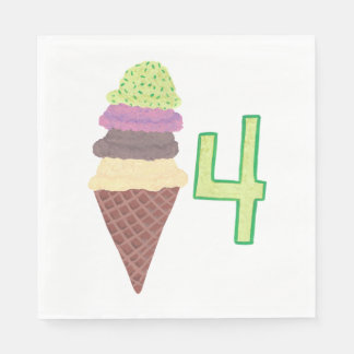 Four Scoops of Ice Cream Birthday Napkins Age 4 Disposable Serviette
