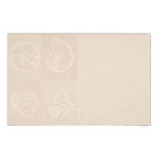 Four Sea Shells Light Taupe Stationery