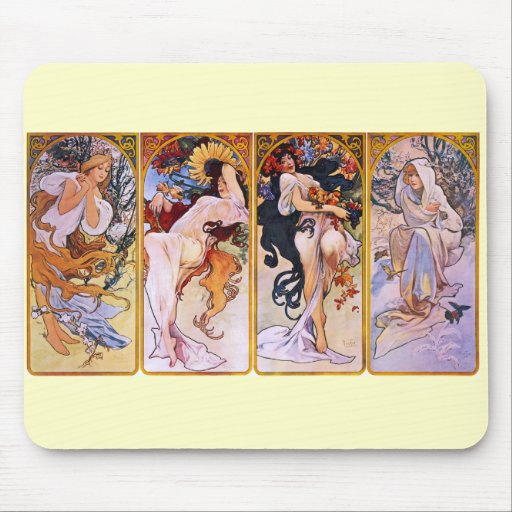 Four Seasons Alfons Mucha Mouse Pad