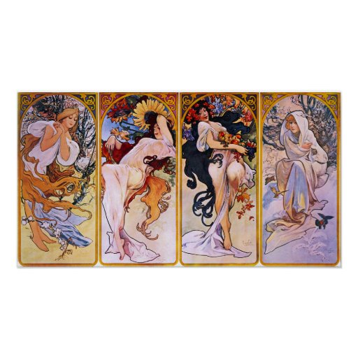 Four Seasons Alfons Mucha Poster