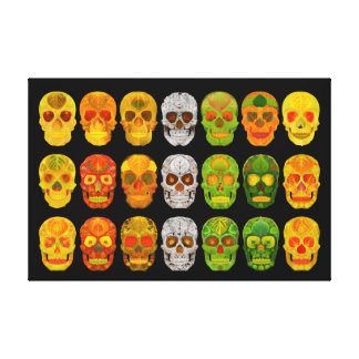 Four Seasons Aspen Leaf Skulls Canvas Print