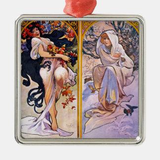 Four Seasons by Alphonse Mucha 1895 Metal Ornament