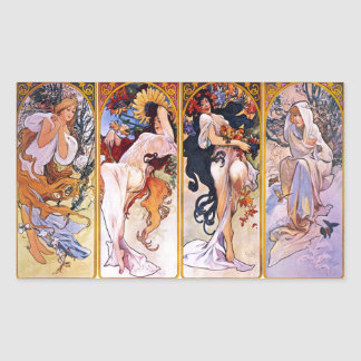 Four Seasons by Alphonse Mucha 1895 Rectangular Sticker