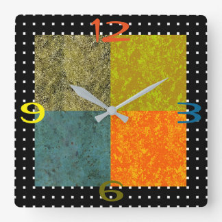 Four Seasons Hot Colors Square Wall Clock