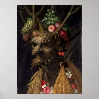 Four Seasons in One Head by Giuseppe Arcimboldo Poster