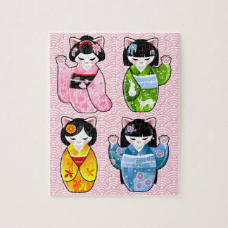 Four Seasons Maneki Neko Kawaii Cat Kimono Kokeshi Jigsaw Puzzle