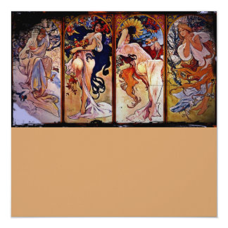 Four Seasons Personified by Women 13 Cm X 13 Cm Square Invitation Card