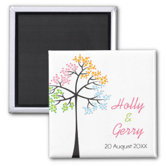 Four Seasons Trees Woodland Wedding Save The Date Square Magnet