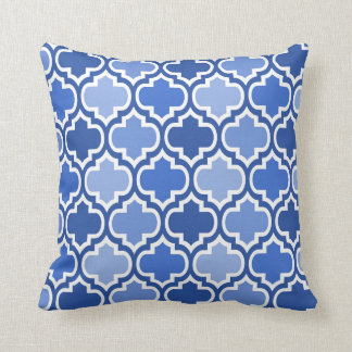 Four Shades Quatrefoil Pattern Cushion Blue