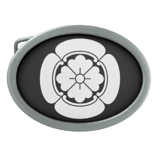 Four side Japanese quince Oval Belt Buckle