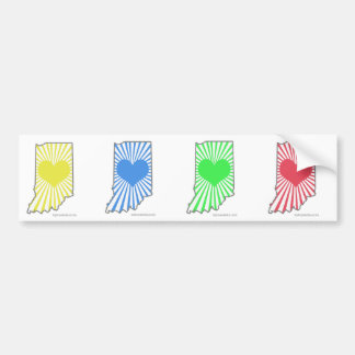 Four small Heart Indiana bumper stickers