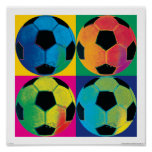 Four Soccer Balls in Different Colours
