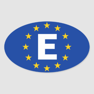 "FOUR Spain ""E"" European Union Flag Oval Sticker"