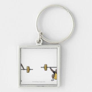Four stages of weightlifter lifting barbell key chains